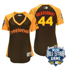 Women - 2016 All-Star National Arizona Diamondbacks #44 Paul Goldschmidt Brown Home Run Derby Cool Base Jersey