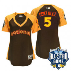 Women - 2016 All-Star National Colorado Rockies #5 Carlos Gonzalez Brown Home Run Derby Cool Base Jersey