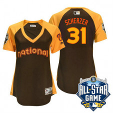 Women - 2016 All-Star National Washington Nationals Max Scherzer #31 Brown Home Run Derby Cool Base Jersey