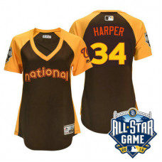 Women - 2016 All-Star National Washington Nationals #34 Bryce Harper Brown Home Run Derby Cool Base Jersey