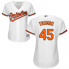 Women - Baltimore Orioles #45 Mark Trumbo Home White Cool Base Jersey