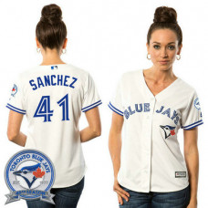 Women - Toronto Blue Jays Aaron Sanchez #41 White Home 40th Anniversary Patch Cool Base Jersey