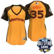 Women - 2016 All-Star American Boston Red Sox Steven Wright #35 Yellow Home Run Derby Cool Base Jersey