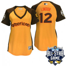 Women - 2016 All-Star American Cleveland Indians Francisco Lindor #12 Yellow Home Run Derby Cool Base Jersey