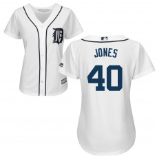 Women - Detroit Tigers #40 JaCoby Jones Home White Cool Base Jersey