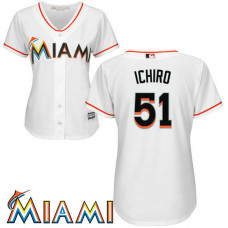 Women - Ichiro Suzuki #51 Miami Marlins Home White Cool Base Jersey