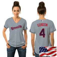 Women - Kansas City Royals Alex Gordon #4 Grey 2016 Independence Day Stars & Stripes Cool Base Jersey