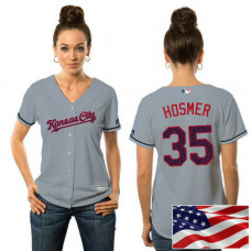 Women - Kansas City Royals Eric Hosmer #35 Grey 2016 Independence Day Stars & Stripes Cool Base Jersey