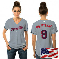 Women - Kansas City Royals Mike Moustakas #8 Grey 2016 Independence Day Stars & Stripes Cool Base Jersey