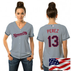 Women - Kansas City Royals Salvador Perez #13 Grey 2016 Independence Day Stars & Stripes Cool Base Jersey