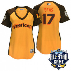 Women - 2016 All-Star American Kansas City Royals Wade Davis #17 Yellow Home Run Derby Cool Base Jersey