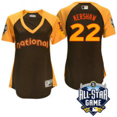 Women - 2016 All-Star National Los Angeles Dodgers Clayton Kershaw #22 Brown Home Run Derby Cool Base Jersey