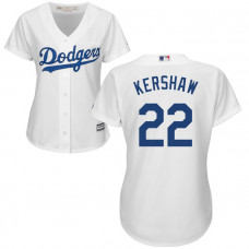 Women - Los Angeles Dodgers Clayton Kershaw #22 White Official Cool Base Jersey