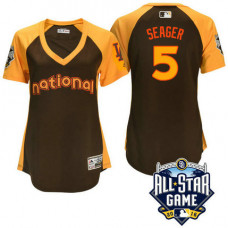 Women - 2016 All-Star National Los Angeles Dodgers Corey Seager #5 Brown Home Run Derby Cool Base Jersey