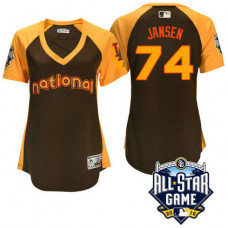 Women - 2016 All-Star National Los Angeles Dodgers Kenley Jansen #74 Brown Home Run Derby Cool Base Jersey