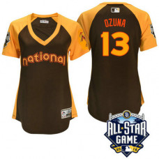 Women - 2016 All-Star National Miami Marlins Marcell Ozuna #13 Brown Home Run Derby Cool Base Jersey