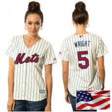 Women - New York Mets David Wright #5 White 2016 Independence Day Stars & Stripes Cool Base Jersey