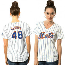 Women - New York Mets Jacob deGrom #48 White Official Cool Base Jersey