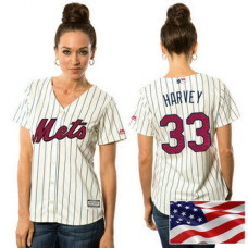 Women - New York Mets Matt Harvey #33 White 2016 Independence Day Stars & Stripes Cool Base Jersey