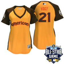 Women - 2016 All-Star American Oakland Athletics Stephen Vogt #21 Yellow Home Run Derby Cool Base Jersey