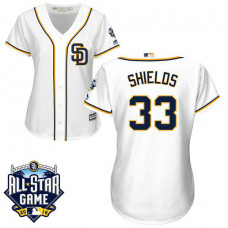 Women - San Diego Padres #33 James Shields White 2016 All-Star Patch Authentic Cool Base Jersey