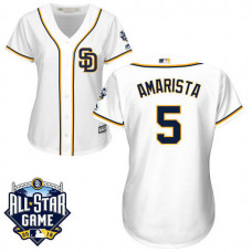 Women - San Diego Padres #5 Alexi Amarista White 2016 All-Star Patch Authentic Cool Base Jersey