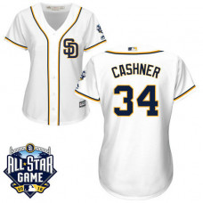 Women - San Diego Padres #34 Andrew Cashner White 2016 All-Star Patch Authentic Cool Base Jersey