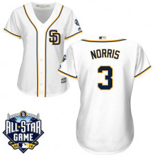 Women - San Diego Padres #3 Derek Norris White 2016 All-Star Patch Authentic Cool Base Jersey