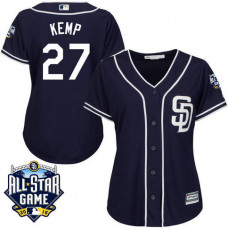 Women - San Diego Padres #27 Matt Kemp Navy 2016 All-Star Patch Authentic Cool Base Jersey