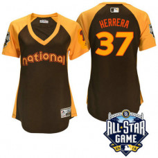 Women - 2016 All-Star National Philadelphia Phillies Odubel Herrera #37 Brown Home Run Derby Cool Base Jersey