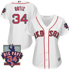 Women - Boston Red Sox #34 David Ortiz White Cool Base Jersey with Retirement Patch