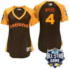 Women - 2016 All-Star National San Diego Padres Wil Myers #4 Brown Home Run Derby Cool Base Jersey
