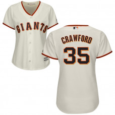 Women - San Francisco Giants Brandon Crawford #35 Cream Official Cool Base Jersey