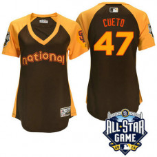 Women - 2016 All-Star National San Francisco Giants Johnny Cueto #47 Brown Home Run Derby Cool Base Jersey