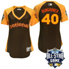Women - 2016 All-Star National San Francisco Giants Madison Bumgarner #40 Brown Home Run Derby Cool Base Jersey