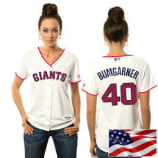 Women - San Francisco Giants Madison Bumgarner #40 White 2016 Independence Day Stars & Stripes Cool Base Jersey