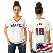 Women - San Francisco Giants Matt Cain #18 White 2016 Independence Day Stars & Stripes Cool Base Jersey