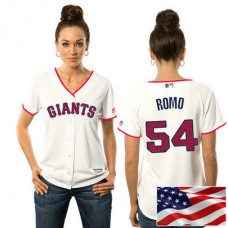 Women - San Francisco Giants Sergio Romo #54 White 2016 Independence Day Stars & Stripes Cool Base Jersey