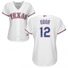 Women - Texas Rangers #12 Rougned Odor Home White Cool Base Jersey