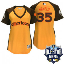 Women - 2016 All-Star American Texas Rangers Cole Hamels #35 Yellow Home Run Derby Cool Base Jersey
