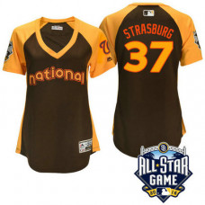 Women - 2016 All-Star National Washington Nationals Stephen Strasburg #37 Brown Home Run Derby Cool Base Jersey