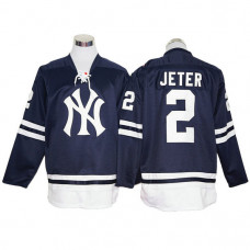 New York Yankees Derek Jeter Black long sleeve Block Jersey
