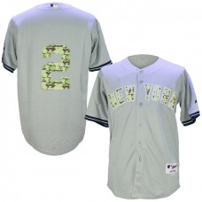 New York Yankees #2 Derek Jeter Grey Camo Cool Base Jersey
