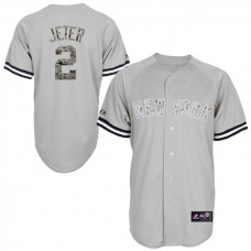 New York Yankees #2 Derek Jeter Grey Camo USMC Player Jersey
