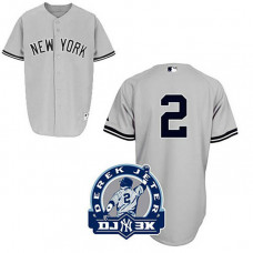 New York Yankees #2 Derek Jeter Grey Road DJ-3K Patch Jersey