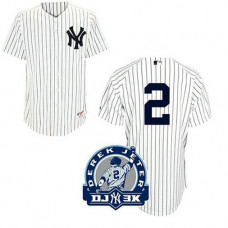 New York Yankees #2 Derek Jeter White Home DJ-3K Patch Jersey