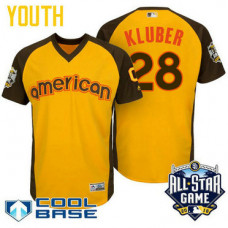YOUTH 2016 All-Star American Cleveland Indians Corey Kluber #28 Yellow Cool Base Jersey