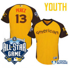 YOUTH 2016 All-Star American Kansas City Royals Salvador Perez #13 Gold Catcher Cool Base Jersey
