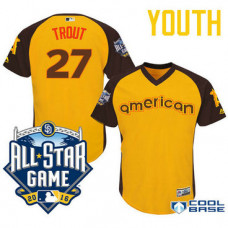YOUTH 2016 All-Star American Los Angeles Angels Mike Trout #27 Gold Center Fielder Cool Base Jersey