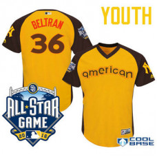 YOUTH 2016 All-Star American New York Yankees #36 Carlos Beltran Gold Cool Base Jersey